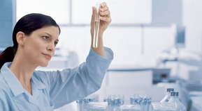 Woman working in laboratory and looking in a test tube.