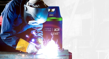 A welder welding with GENIE.